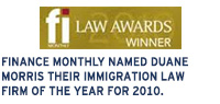 Finance Monthly named Duane Morris their Immigration Law Firm of the Year for 2010