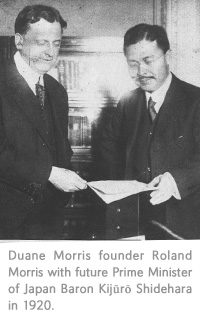 Duane Morris founder Roland Morris with future Prime Minister of Japan Baron Kijuro Shidehara in 1920