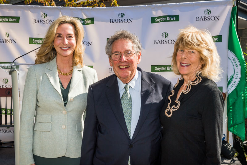 Babson College President Kerry Healey, Richard J. Snyder and Marilyn B. Snyder