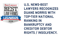 U.S. News-Best Lawyers Recognizes Duane Morris with Top-Tier National Ranking in Bankruptcy and Creditor Debtor Rights / Insolvency and Reorganization Law